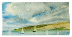 Dark Clouds Threaten Derwent River Sailing Fleet Beach Towel