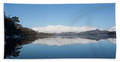 Derwentwater Winter Reflection Beach Towel