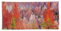 Beach Towel featuring the painting Descent Into Bryce by Steve Henderson