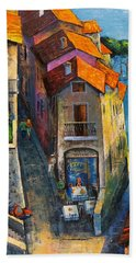 Beach Towel featuring the painting Desenzano Del Garda by Mikhail Zarovny