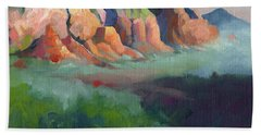 Desert Afternoon Mountains Sky And Trees Beach Towel