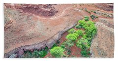 desert canyon in Utah aerial view Beach Towel