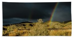 Desert Double Rainbow Beach Towel