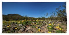 Desert Flowers In Spring Beach Sheet by Ed Cilley