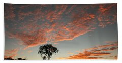 Beach Towel featuring the photograph Desert Oak Tree Silhouetted At Sunrise by Keiran Lusk