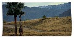 Desert Palm Giraffe 001 Beach Towel