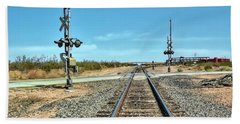 Desert Railway Crossing Beach Towel