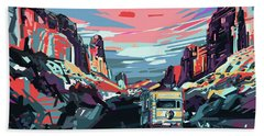Desert Road Landscape Beach Towel by Bekim Art