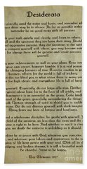 Desiderata Beach Sheet by Olga Hamilton