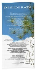 Desiderata Poem Over Sky With Clouds And Tree Branches Beach Sheet by Claudia Ellis