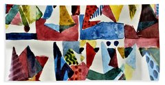Beach Towel featuring the painting Designs For Pyramids by Mindy Newman