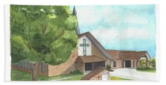 Beach Towel featuring the painting De Soto Baptist Church by Betsy Hackett