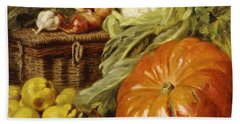 Detail Of A Still Life With A Basket, Pears, Onions, Cauliflowers, Cabbages, Garlic And A Pumpkin Beach Towel