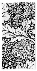 Detail Of A Vintage Textile Pattern Design By William Morris Beach Towel