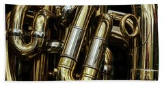 Detail Of The Brass Pipes Of A Tuba Beach Towel