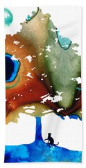 Determination - Colorful Cat Art Painting Beach Towel