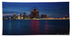 Detroit At Night 4 Beach Towel