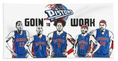 Detroit Goin' To Work Pistons Beach Towel