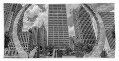 Detroit Hart Plaza And Cityscape  Beach Towel
