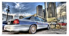 Detroit Police Beach Towel by Nicholas  Grunas