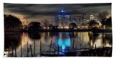 Detroit Reflections Beach Towel by Nicholas  Grunas