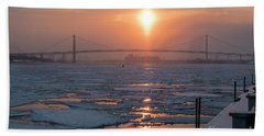 Detroit River Sunset Beach Towel