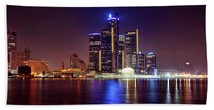 Detroit Skyline 4 Beach Towel by Gordon Dean II