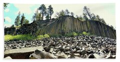 Devils Postpile Wide Beach Towel