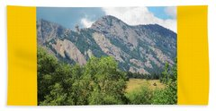 Beach Towel featuring the photograph Devil's Thumb Flatirons Colorado by Marilyn Hunt