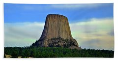 Beach Towel featuring the photograph Devils Tower 002 by George Bostian