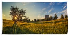 Beach Towel featuring the photograph Devil's Tower In The Early Morning by Rikk Flohr