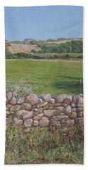 Beach Towel featuring the painting Devon Field And Drystone Wall by Martin Davey