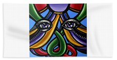 Colorful Contemporary Canvas Painting, Eyeball Artwork, Colorful Modern Art                       Beach Towel
