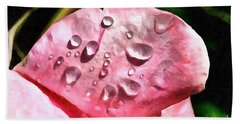 Dewdrops On A Rose Flower Petal Beach Towel