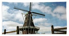 Beach Towel featuring the photograph Dezwaan Windmill With Fence And Clouds by Michelle Calkins