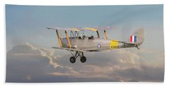 Beach Towel featuring the digital art Dh Tiger Moth - 'first Steps' by Pat Speirs