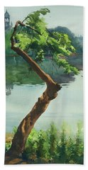 Beach Towel featuring the painting Dhanmondi Lake 03 by Helal Uddin
