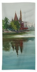 Beach Towel featuring the painting Dhanmondi Lake 04 by Helal Uddin