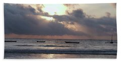 Dhow Wooden Boats At Sunrise 1 Beach Towel