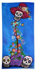 Beach Towel featuring the painting Dia De Los Muertos by Pristine Cartera Turkus
