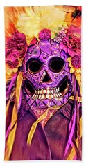 Dia De Muertos Mask Beach Sheet