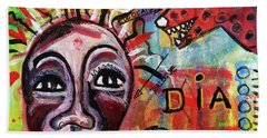 Beach Towel featuring the mixed media Dialogue Between Red Dawg And Wildwoman-self by Mimulux patricia No