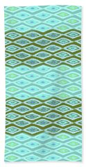 Diamond Bands Aqua Olive Beach Towel