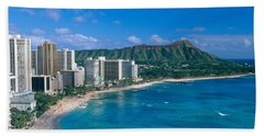 Diamond Head And Waikiki Beach Towel