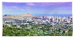 Diamond Head Skyline Beach Towel