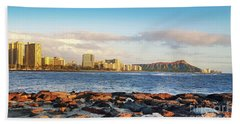 Diamond Head, Waikiki Beach Towel by Kristine Merc