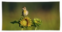 Beach Towel featuring the photograph Dickcissel Sunflower by Andrea Silies
