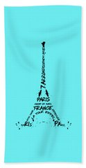 Digital-art Eiffel Tower Beach Sheet by Melanie Viola