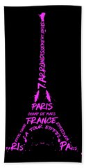 Digital-art Eiffel Tower Pink Beach Towel