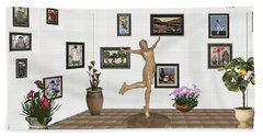 Beach Towel featuring the mixed media digital exhibition _ A sculpture of a dancing girl 11 by Pemaro